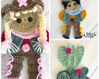 Crochet Pattern - INSTANT PDF DOWNLOAD - Wild Wild West - Crochet Cowboy - Crochet Cactus - Crochet Cowgirl - Cactus Pattern - Appliqués