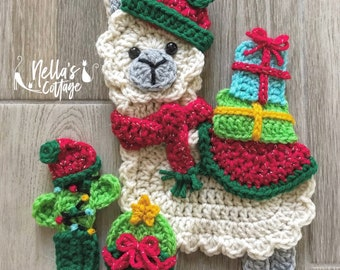 Crochet Pattern - Instant PDF DOWNLOAD - Christmas Llama - Christmas - Nellas Cottage - Llama Crochet -Patterns - Holiday Patterns