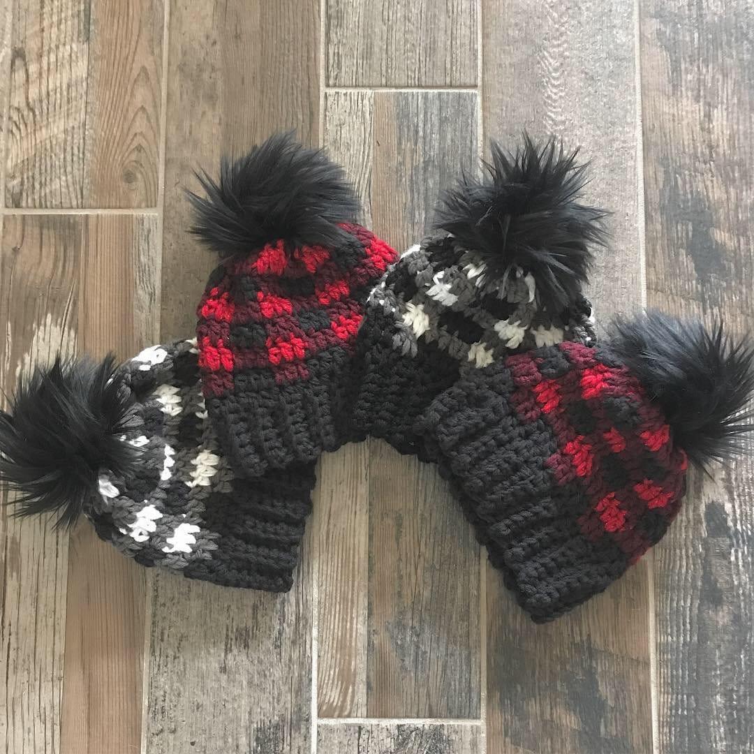 bbd1a878a11 Buffalo Plaid Beanie - Crochet Beanie - Beanie - Hat - Lumberjack Beanie -  Crochet Plaid - Gifts for Her - Christmas Gifts - Hats - Plaid