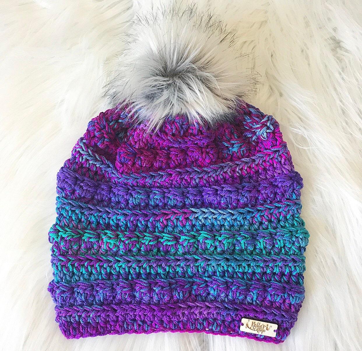 f764f9a53e9 Mermaid Beanie - Hat - Beanie - Winter Hat - Knit Hat - Knit Beanie -  Crocheted Hat - Gifts - Chunky Knit Hat - Faux Fur Beanie - Fall
