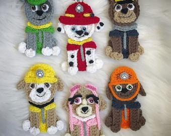 Crochet Pattern - INSTANT PDF DOWNLOAD - Patrol Puppies - Puppies - Crochet Puppies - Crochet Appliques - Nellas Cottage Patterns - Crochet