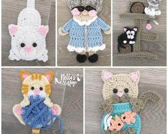 Crochet Pattern - INSTANT PDF DOWNLOAD - Nellas Cottage - Crazy Cat Lady - Cat Crochet Pattern - Cat Pattern - Cat Lover - Crochet - Pattern