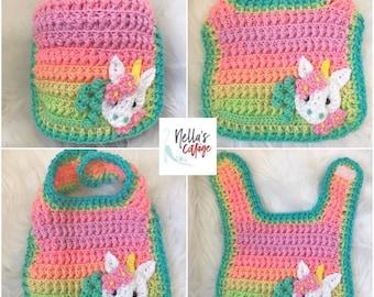 Crochet Pattern - INSTANT DOWNLOAD - Bib - Baby Bib - Crochet Bib Pattern - Bib Pattern - Amara Baby Bib - Nellas Cottage Patterns - Unicorn