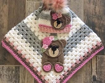 Crochet Baby Blanket - Baby Blanket - Handmade Baby Blanket - Baby Bear Blanket - Crocheted Baby Blanket - Baby Bear