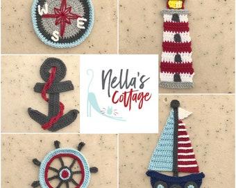 Crochet Pattern - INSTANT PDF DOWNLOAD - Nautical Crochet Patterns - Applique Patterns