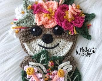 Crochet Pattern - INSTANT PDF DOWNLOAD - Boho Sloth Pattern - Crochet Sloth - Boho Sloth - Sloths - Crochet Sloth - Boho Sloth Applique