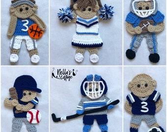 Crochet Pattern - INSTANT PDF DOWNLOAD - Crochet - Patterns - Sports Pack - Crochet Sports - Football - Hockey - Baseball - Cheerleader