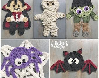 Crochet Pattern - INSTANT PDF DOWNLOAD - Halloween Patterns - Crochet Halloween - Dracula - Frankenstein - Bat - Mummy - Spider