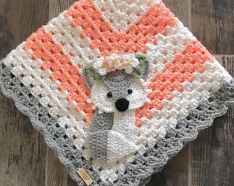 Crochet Baby Blanket - Baby Blanket - Handmade Baby Blanket - Fox Baby Blanket - Crocheted Baby Blanket - Baby Fox