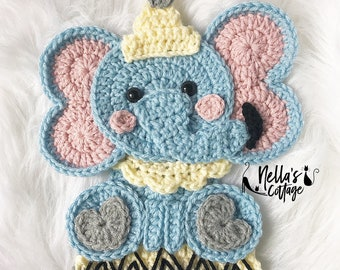 Crochet Pattern - INSTANT PDF DOWNLOAD - Elephant - Circus - Circus Elephant - Vintage Circus Elephant - Nellas Cottage - Vintage - Crochet