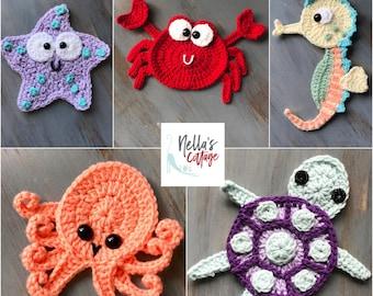 Crochet Pattern - INSTANT DOWNLOAD  - Crochet Pattern - Crochet - Octopus - Seahorse - Turtle - Starfish - Crab - Patterns - Baby
