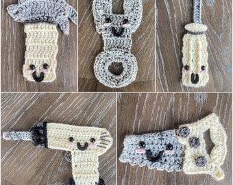 Crochet Pattern - INSTANT PDF DOWNLOAD - Tool Set - Crochet Tool Set Appliques - Nellas Cottage - Nellas Cottage Patterns - Tools - Crochet