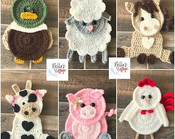 Crochet Pattern - Farm Animal Patterns - INSTANT PDF DOWNLOAD - Crochet Appliques - Applique Patterns - Horse - Cow - Pig - Duck -Chicken