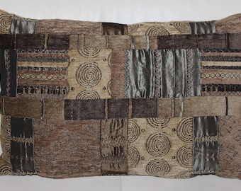Cushion cover in beige and Brown embroidered velvet 33 x 50