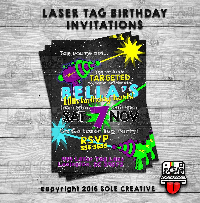 LASER TAG Birthday Invitations | Etsy