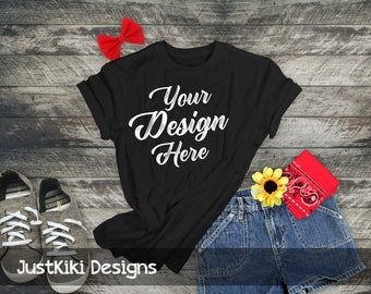 Download Free Tshirt mockup - flat lay shirt - black t shirt mockup - RUSTIC WOOD BACKGROUND, black tshirt, jean shorts, red bandana, sunflower PSD Template