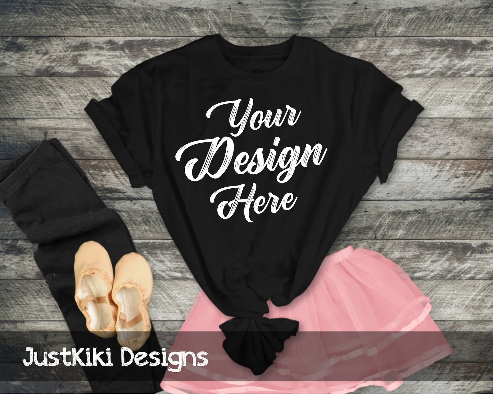 tshirt mockup - flat lay shirt - black t shirt mockup - rustic wood background pink ballet skirt and ballet shoes