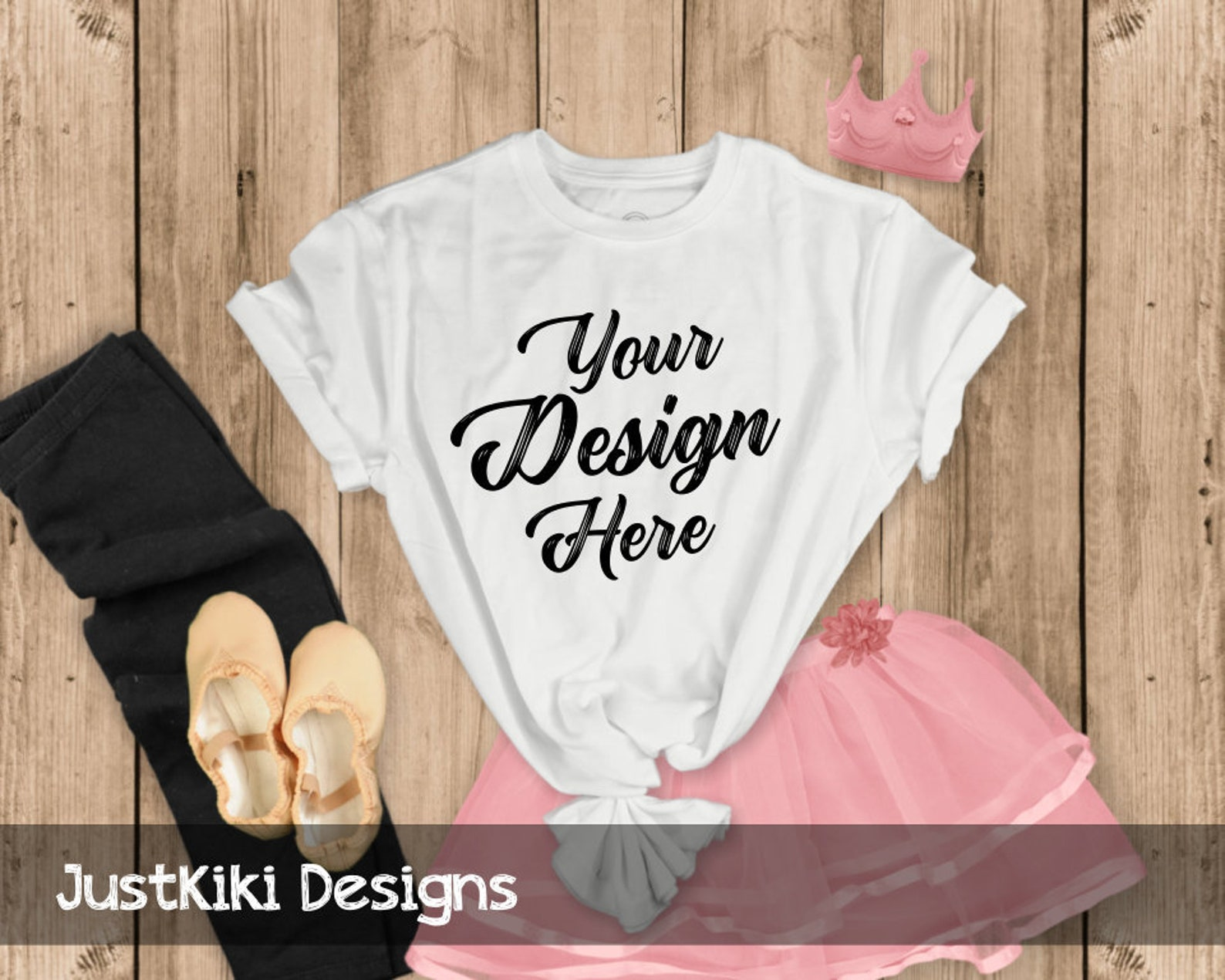 t-shirt mockup - flat lay t shirt - womans t shirt mockup - wood background, white tshirt, pink ballet skirt and shoes, black le
