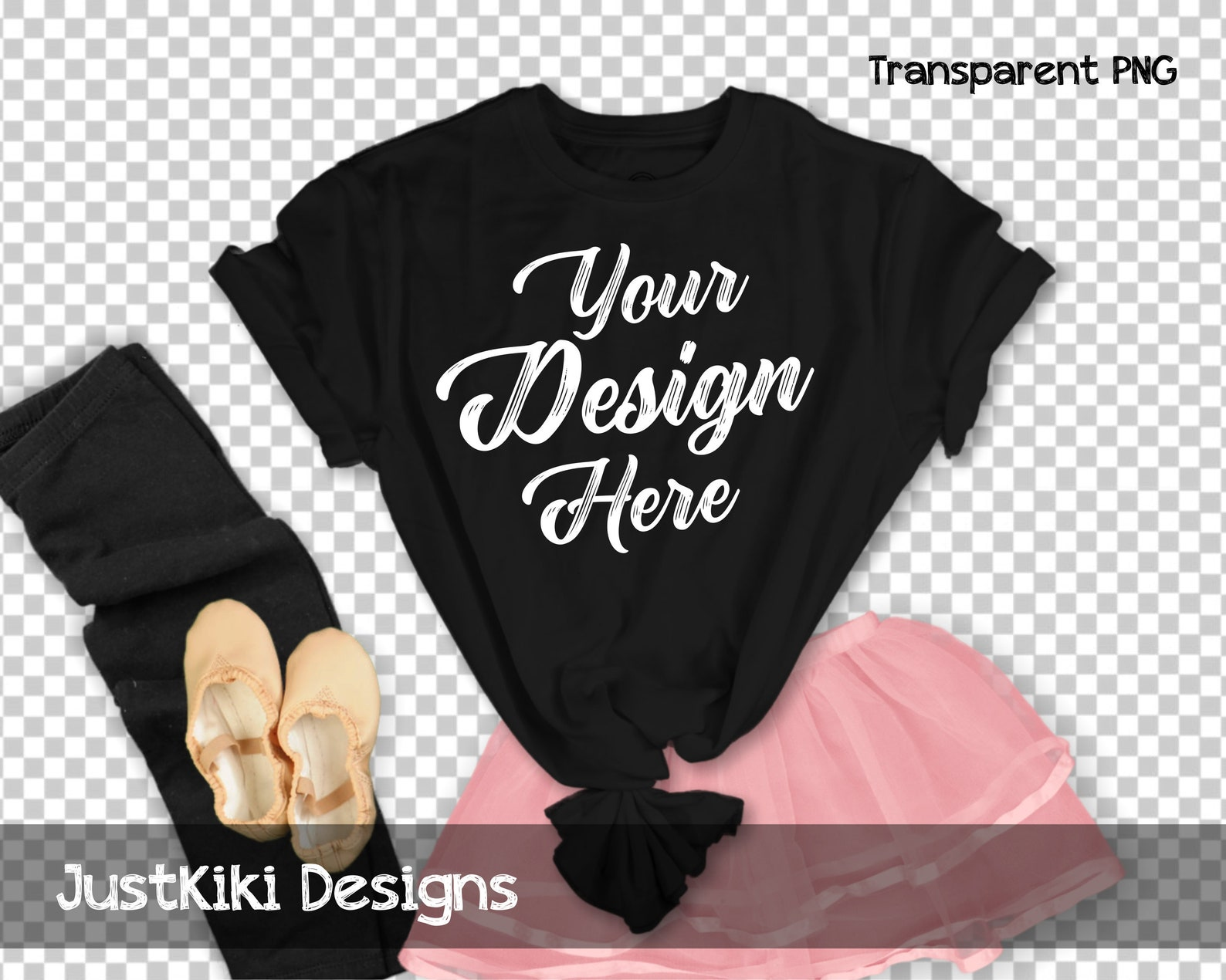 black t shirt mockup - shirt flat lay - shirt mock up - transparent background pink ballet skirt and ballet shoes