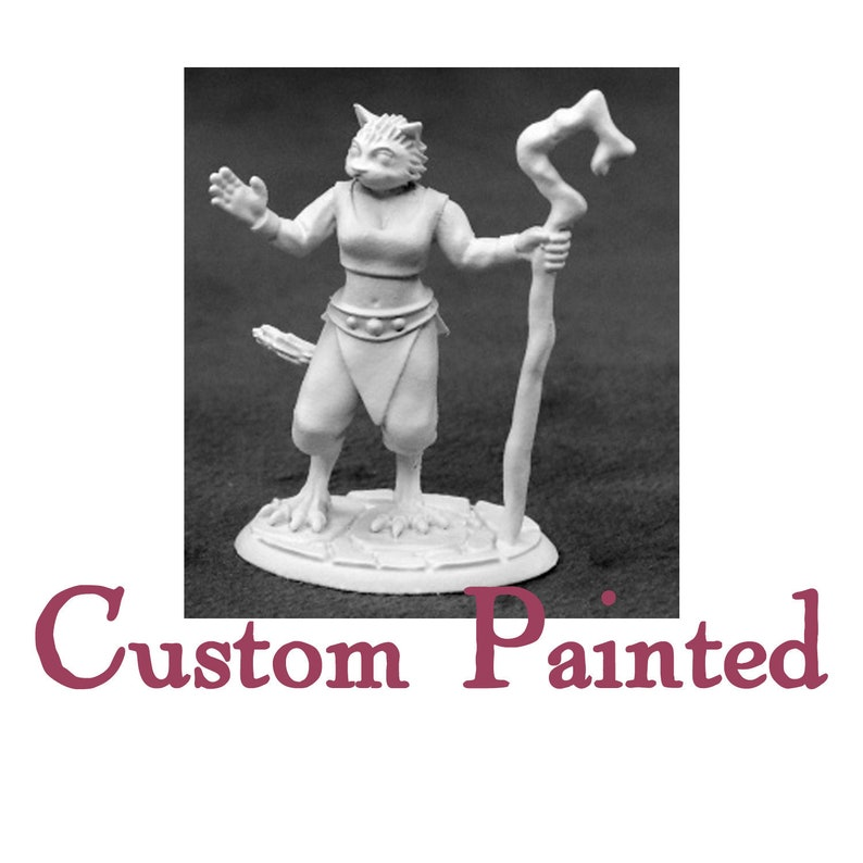 Custom Painting Service for a Tabaxi/Catfolk Female 28mm Reaper Miniature  Dungeons and Dragons Miniature