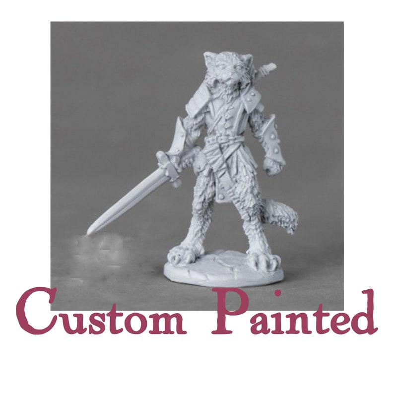 Custom Painting Service for a Tabaxi/Catfolk 28mm Reaper Miniature Dungeons  and Dragons Miniature