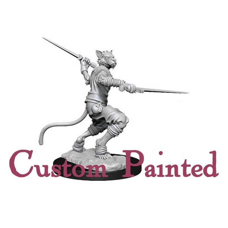 Custom Painting Service for a Tabaxi/Catfolk 28mm WizKids Miniature  Dungeons and Dragons Miniature