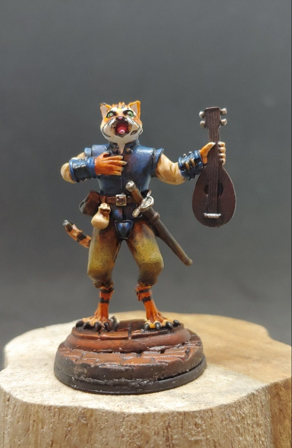 Custom Painting Service for a Tabaxi/Catfolk Bard 28mm Reaper Miniature  Dungeons and Dragons Miniature