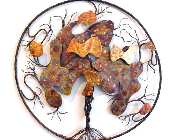 Copper wall art panel, a flame painted 3D tree of life, with a 18 inches diameter  , the wall art is protected with 3 layers of polymer.