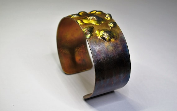 Copper Bracelet flame painted, purple hue. The cuff is flame painted with a torch and covered by a protective coat, fire painting,