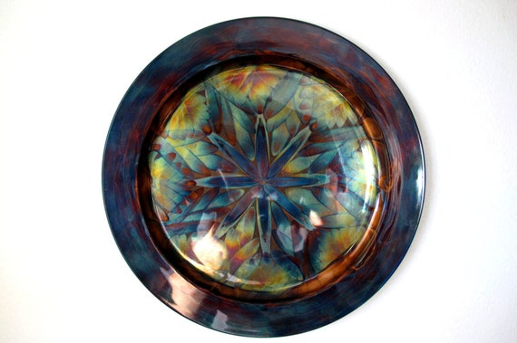 Mandala wall art, flame painted décorative copper plate