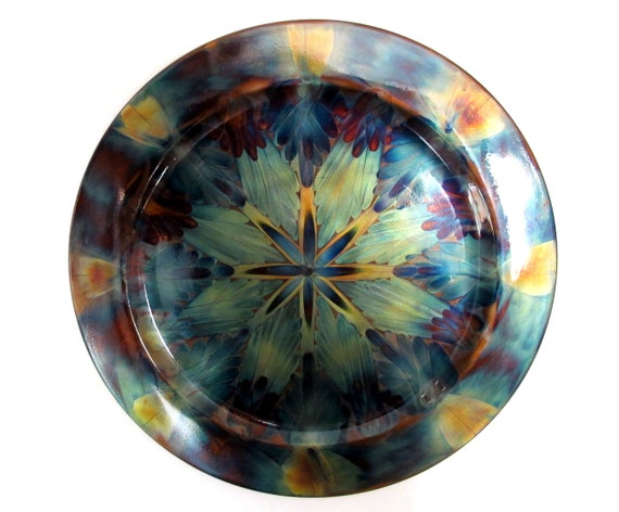Mandala wall art, flame painting on copper decor plate