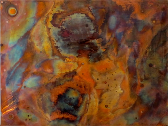 This flame painting copper art work is an abstract expression of traveling in the universe.