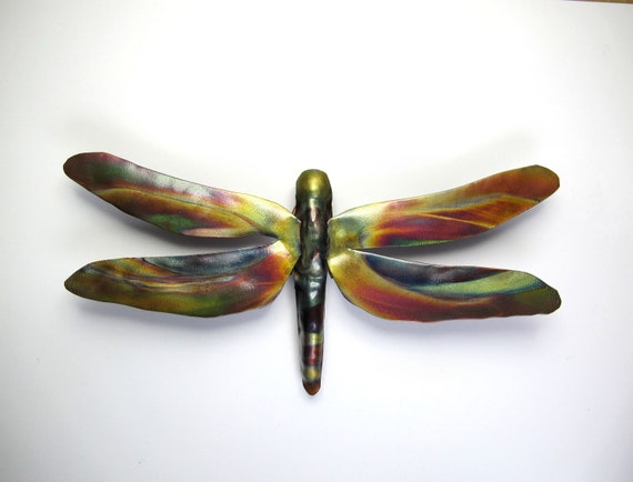 Flame painted copper Butterfly, a decorative object.