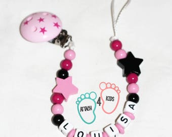 Personalized pacifier clip with the name of your choice - star Theme pink