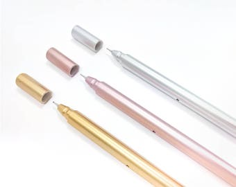 Gold, Rose Gold, or Silver Metallic Fine Tip (.5mm) Ballpoint Pen with Black Ink