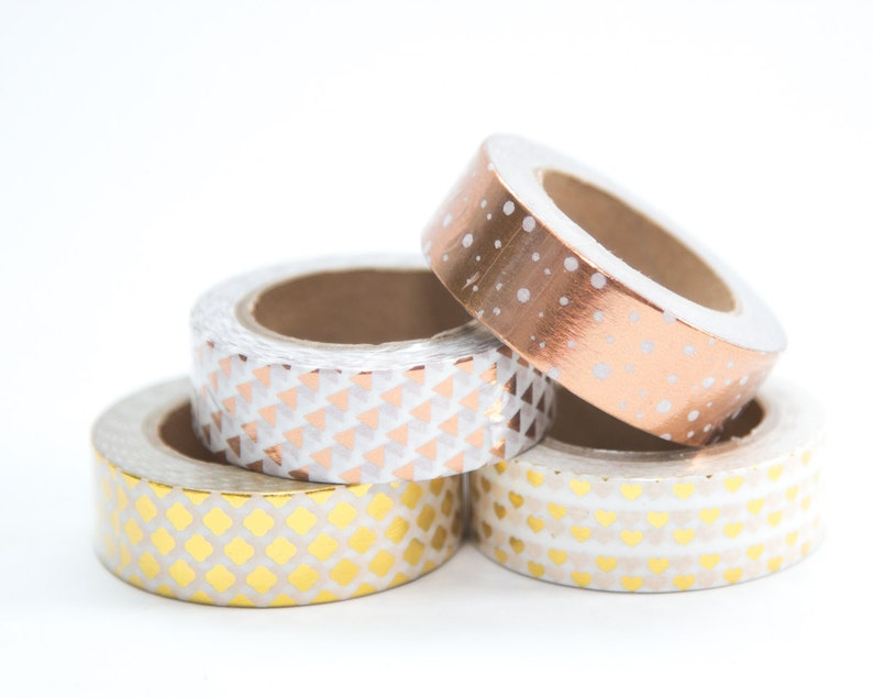Rose Gold and Yellow Gold Foil Metallic Washi Tape  Hearts image 0