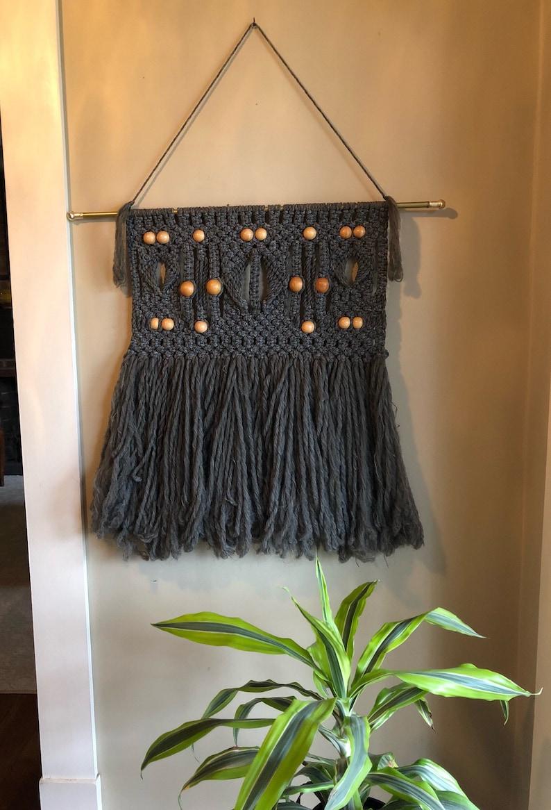 Macrame Wall Hanging Gray Wood Beads Handmade Wall Art Vintage Boho Bohemian Tapestry Bedroom Living Room Earthy Home Hippie Groovy