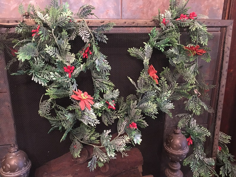 Vintage Christmas Greenery Garland Flocked Poisettia And Berries On Plastic Holly Pine Floral Craft Supply Retro Christmas Decor