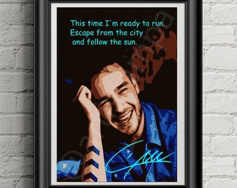 Liam Payne Printable Art with signature and  quote from One Direction