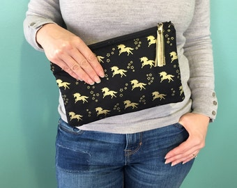 Unicorn Vegan Zippered Pouch, Travel, Tolietry, Makeup Pouch, Cosmetic Bag