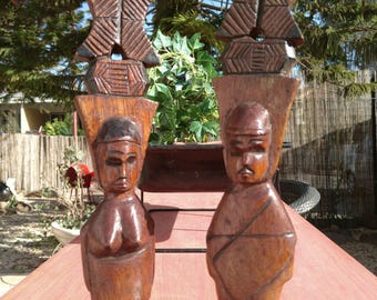 Pair of Wooden Carved Sculpture.