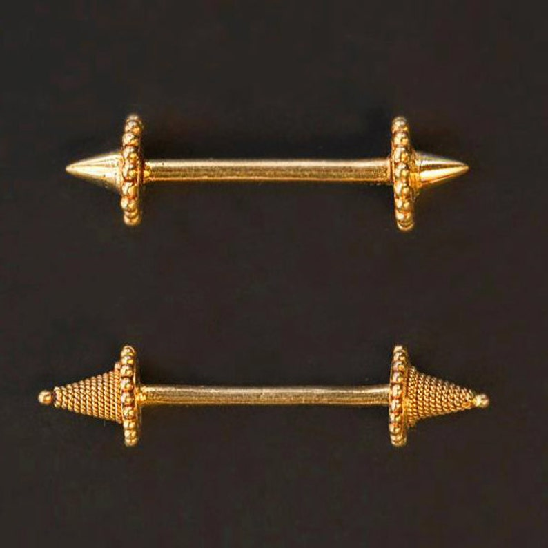 Gold Nipple Barbell Nipple Piercing Jewelry 17 Gauge Nipple image 0