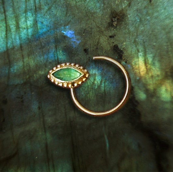 Gold Nose Stud With Emerald Nose Ring Tribal Nose Stud Ring Etsy