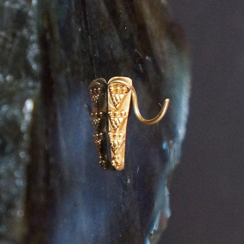 Tribal Nose Ring Stud In 22k Solid Gold Nose Screw Nose Stud Etsy