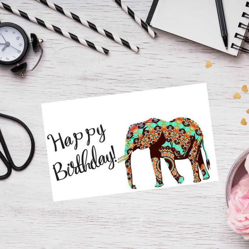 Happy Birthday Card Elephant Elegant Cute Adorable Fancy
