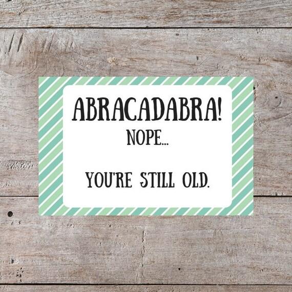 Sarcastic Birthday Card Hilarious Birthday Card Abracadabra Etsy