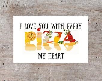Love Card, Printable Valentine's Day Card, Snarky Valentine's Day Card, Pizza Valentines, Funny Valentine's Card, Hilarious Valentine's Card