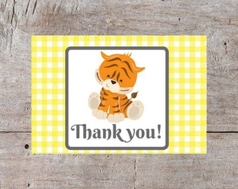 Baby Thank You Cards, Tiger Card, Cute Thank You Cards, Baby Shower Thank You, Thank You Cards, Tiger Thank You Cards