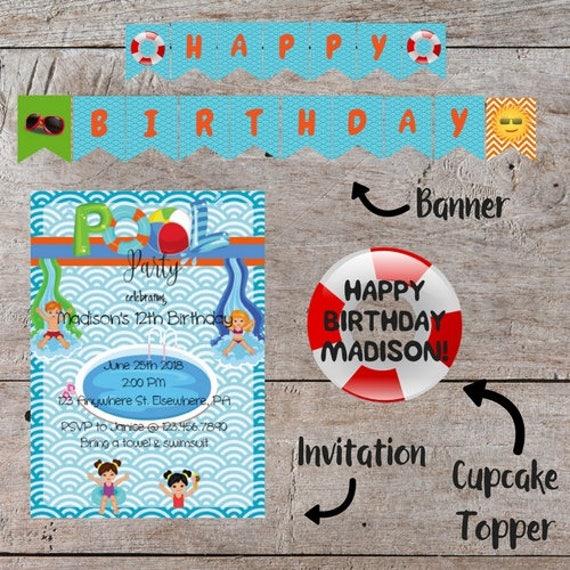 Pool Party Invitation Kit Editable Birthday