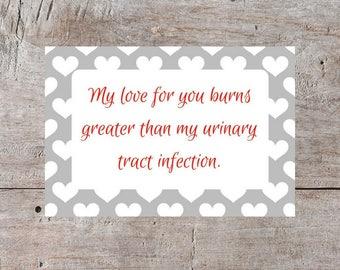 Funny Valentine's Day Card, Valentine's Day Card, Hilarious Valentine, Snarky Valentine, Sarcastic Valentine, Insulting Valentine, Urinary